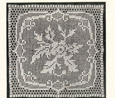 Pretty floral design vintage crochet pattern for square motif for cushions, bedspreads etc pdf