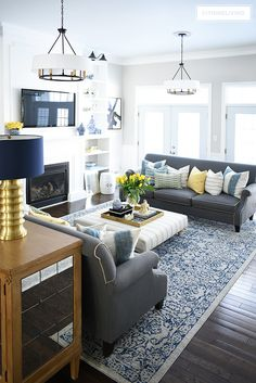 The Lost Secret of Blue and White Spring Living Room Tour - gameofthron Spring Living Room, Spring Living Room Decor, Home Living Room, Farm House Living Room, Living Room Grey, Blue Living Room Decor, Living Decor, Home And Living, Yellow Decor Living Room