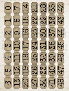 Printable Tickets, Printable Numbers, Printable Labels, Printable Scrapbook Paper, Scrapbook Stickers, Stickers Kawaii, Vintage Numbers, Bullet Journal Ideas Pages, Junk Journal
