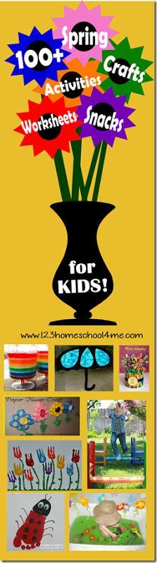 100 Spring Crafts for Kids, Spring Worksheets, Spring Snacks for Kids, and Kids Acivities for Spring