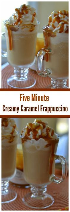 Five Minute Creamy Caramel Frappuccino - Drinks - Coffee Recipes Non Alcoholic Drinks, Fun Drinks, Yummy Drinks, Yummy Food, Beverages, Cocktails, Cocktail Desserts, Summer Desserts, Cold Drinks