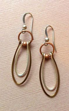 Handmade Silver and Copper Dangle Hoop Earrings by Lammergeier by Wirth, L