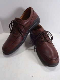 ECCO Size 13D Brown Mens Leather Seawalker Oxford Lace Moc Toe Boat Shoes EU 47 #ECCO #Oxfords