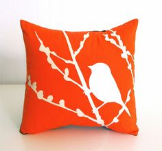 Orange Bird on Cherry Blossom  Mini 10.5 Inches Square by joom, $16.00