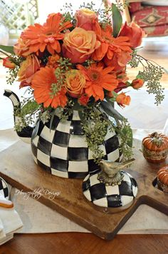 Fall Flower Tablescape with MacKenzie-Childs Fall Flower Arrangements, Flower Centerpieces, Fall Flowers, Orange Flowers, My Flower, Flower Power, Halloween Entertaining, Spray Roses, Gerbera