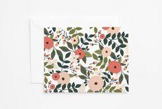 Floral Notecard Set of 8  Folded by PrintStitchAndPaste on Etsy
