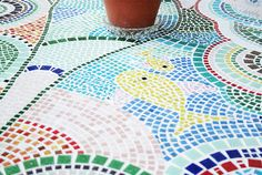 Mosaiktisch, Mosaictable, table, Terassentisch, Mosaik, Mosaic Monster, Red Apple, Bunt, Abstract, Artwork, Mosaic Stones, House Exteriors, Projects, Lawn And Garden
