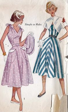 """1950s Teen Age Summer Dress and Bolero Vintage Sewing Pattern, Simplicity 3562 bust 32"""" uncut. $14.00, via Etsy."""