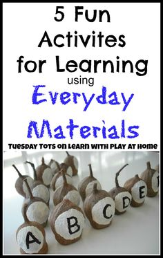 5 Fun Activities for Learning using Everyday Materials. Learn with Play at home.