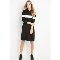 Forever 21 Hooded Stripe Sweatshirt Dress ($23) ❤ liked on Polyvore featuring dresses, striped dress, side slit dress, sleeve dress, striped hooded dress and white sleeve dress