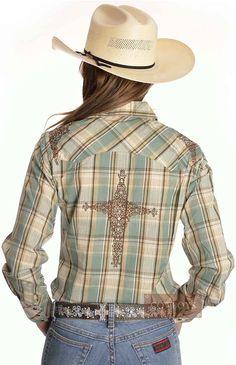 64fed583b7 camisa feminina manga longa resistol xadrez verde e marrom p6206 - Busca na Loja  Cowboys - Moda Country