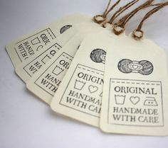 Gift Tags, Original Handmade with Care, Set of for Knit, Crochet, Yarn Gifts. via Etsy. Yarn Projects, Knitting Projects, Crochet Projects, Gift Labels, Gift Tags, Loom Knitting, Hand Knitting, Crochet Diy, Printable Labels