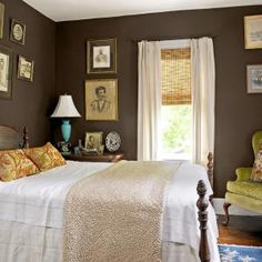 Spare bedroom idea: plum brown walls, cream curtains... Not usually into dark walls, but ooh la la I like this!
