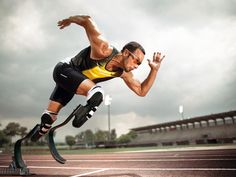 """""""Being disabled doesn't have to be a disadvantaged"""" Oscar Pistorius, first  double-amputee sprinter running with able bodied runners."""