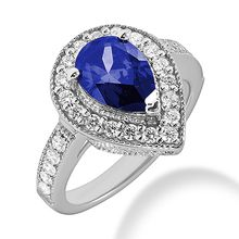 3.77ct Pear-Cut Tanzanite Diamond Halo Cocktail Engagement Ring