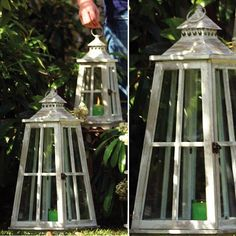 Nesting Wooden Candle Lanterns, Set of 2