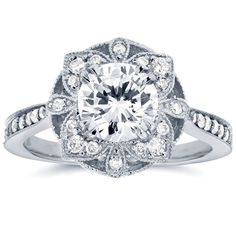 Annello 14k white Gold Round Moissanite and 1/4ct TDW Diamond Antique Floral Engagement Ring $811 as of 2/11/16