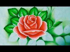 Como Pintar Rosa - Pintura em Tecido fácil - YouTube