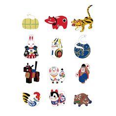 十二支 | 和風デザイン・和柄素材なら Wagara Design Navi Oriental Design, Feng Shui, Art Dolls, Art For Kids, Snoopy, Design Inspiration, China, Japanese, Stickers