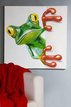 schilderij kikker 80x80