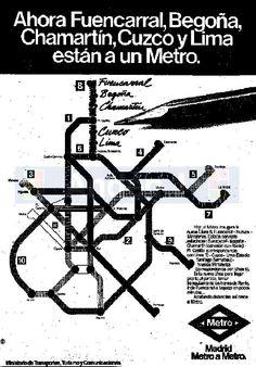 Anuncio nueva línea 8 en 1982. Con ocasión del Mundial de fútbol 1982 se abrió esta línea que daba servicio al estadio Santiago Bernabéu así como a la estación ferroviaria de Chamartín (que por difícil que parezca creer, tampoco tenía conexión con el metropolitano).  Se prolongó provisionalmente la cabecera sur a Avenida de América y finalmente la línea 8 se unió desde Nuevos ministerios con la 10 en Alonso Martínez con la nueva estación intermedia de Gregorio Marañón.