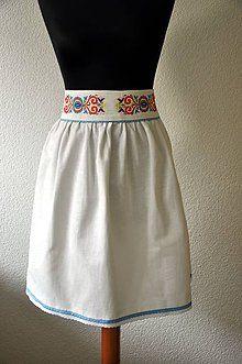 Sukne - Suknica vyšívaná biela - 5687034_