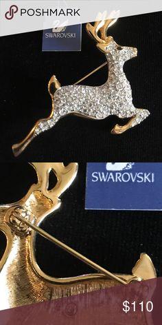 Leaping Deer Brooch Original Swarovski Crystal Brooch. Item is new in it's box. Swarovski Jewelry Brooches