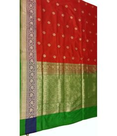 Red and  Green Banarasi Saree-------Wedding is one of the most important functions of a woman's life. These days, brides tend to project certain images on their wedding day on the full and careful planning of their clothes and jewelry. Wedding saris are often the focus of any wedding ceremony. For this reason the bride to take care to choose clothes to appear gorgeous.------Sarees from luxurionworld.com