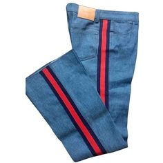 Blue Cotton elasthane Jeans GUCCI (€460) ❤ liked on Polyvore featuring jeans, pants, bottoms, blue jeans, gucci jeans and gucci