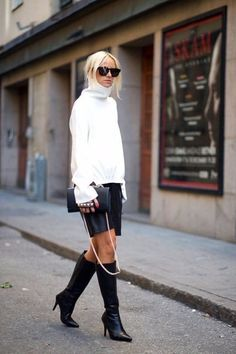 Ideas de look para el día a día... prenda clave - falda de piel...