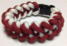 Paracord Bracelet - Crimson & White Shark Tooth Weave by Stockstill Outdoor