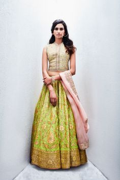 Editor's Picks - Lime green floral lehenga with floral mint blouse - Sue Mue…