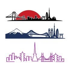 Tokyo Skyline Cuttable Design Cut File. Vector, Clipart, Digital Scrapbooking Download, Available in JPEG, PDF, EPS, DXF and SVG. Works with Cricut, Design Space, Cuts A Lot, Make the Cut!, Inkscape, CorelDraw, Adobe Illustrator, Silhouette Cameo, Brother ScanNCut and other software.