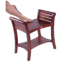 """Symmetry 24"""" Teak Bench with Shelf and Lift Aide Curved Arms"""