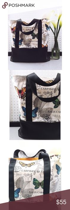 """The Eloise Handmade XL Tote A stunning natural color with bright butterflies paired with a buttery soft black leather bottom for extra support. This extra large tote is perfect for shipping posh packages, a weekend getaway, or as a reusable shopper! This is a stunning pattern & such a versatile piece.  Approx 19""""w x 18""""h  Strap drop approx 5""""  Due to the handmade nature of this item, slight imperfections may exist but will not affect function. PRICE FIRM  Follow me on Instagram for a look at…"""