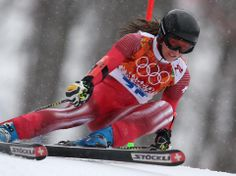 DAY 12:  Fabienne Suter of Switzerland competes during the Alpine Skiing Women's Giant Slalom http://sports.yahoo.com/olympics