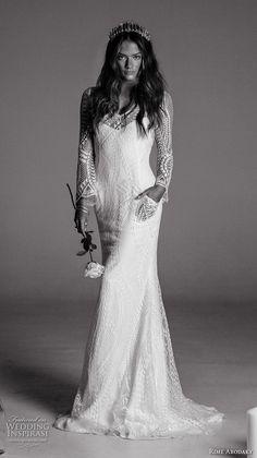 rime arodaky fall 2017 bridal long sleeves illusion scoop neckline full embellishment lace elegant sheath wedding dress with pockets low back strap sweep train (1) mv -- Rime Arodaky Fall 2017 Wedding Dresses   Wedding Inspirasi #wedding #weddings #bridal #weddingdress #bride ~