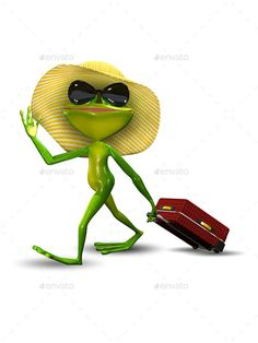 Frog with a Suitcase in a Hat