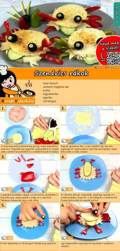 Cancer sandwich recipe with video - breakfast recipes / recipe ideas - Make the little ones a crab sandwich for breakfast and they will bite heartily! You can easily find - Party Sandwiches, Sandwiches For Lunch, Turkey Sandwiches, Crab Sandwich, Sandwich Recipes, Veggie Sandwich, Breakfast For Kids, Breakfast Recipes