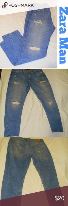 Zara Man Blue Denim Ragged Jeans Pre-owned, Good Condition! Slim Fit,  distressed, 5 pockets, 34 W x 28 L Zara Jeans Slim Straight