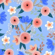 Blush pink roses and blue flowers on french blue fabric by rebecca_reck_art on Spoonflower - custom fabric