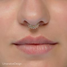 Tiny Fake Septum Nose Ring, Indian Tribal Style Faux Brass Clip On Non Pierced Septum Hoop, Handmade Designer Piercing Jewelry Septum Piercings, Percing Septum, Septum Piercing Jewelry, Septum Nose Rings, Fake Nose Rings, Cool Piercings, Tragus, Septum Clicker, Nose Stud