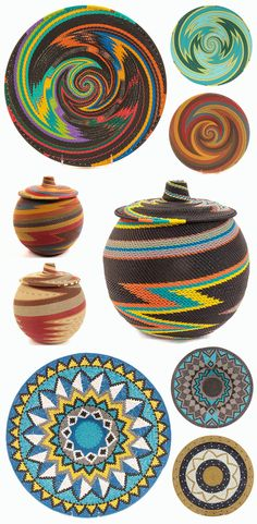 Africa | Wire baskets from the Zulu people of KwaZulu-Natal, South Africa | Zulu weavers have taken the intricate designs and incredible craftsmanship of their natural fiber baskets, and turned them into brightly-colored art from plastic-coated wire. African Crafts, African Home Decor, African Interior, South African Decor, South African Design, Kwazulu Natal, Basket Weaving, African Culture, Wire Baskets