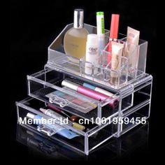 Nuevo organizador de cosméticos de maquillaje caja de exhibición de acrílico claro caso del gabinete de la joyería caja de regalo de envío gratis sf-1063