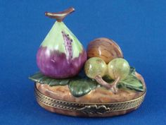 Fruit Display - Fig - Grapes - Nut - authentic FRENCH LIMOGES box
