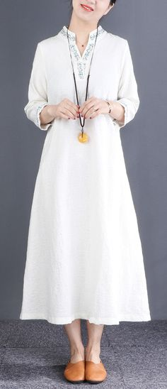 Style v neck embroidery linen outfit Korea Cotton white Robe Dresses Spring Dresses Casual, Dress Summer, Fall Dresses, Long Dresses, White Linen Dresses, Cotton Dresses, Fashion Spring, Autumn Fashion, New Long Dress