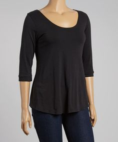 Black Solid Scoop Neck Top - Plus