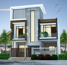 Casas modernas Bungalow Exterior, Bungalow House Design, Design Your Dream House, House Front Design, Modern House Design, Building Exterior, Building Design, Exterior Doors, Modern Buildings