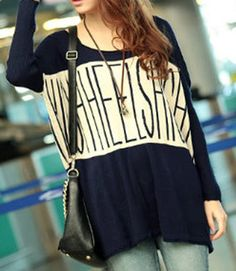 Casual Scoop Neck Letter Print Color Matching Long Sleeves Sweater For Women (DEEP BLUE,ONE SIZE) | Sammydress.com