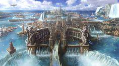 Really cool waterfall citadel, #fantasy setting inspiration